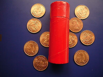 Uk British 1967 Pre-Decimal 50 X 1/2 Halfpenny Unc Coins In Red Tube