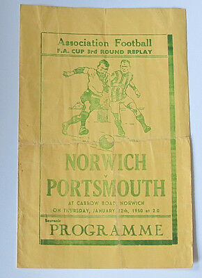 Pirate Programme. 1949/1950 Norwich City v Portsmouth. FA Cup Replay.