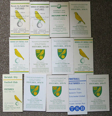 Norwich City Fixture Cards/Lists 1961/62  to 1976/77.