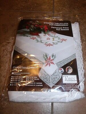 """Tobin Stamped Cross Stitch Napkins CHRISTMAS HOLLY 17"""" Pack of 4"""