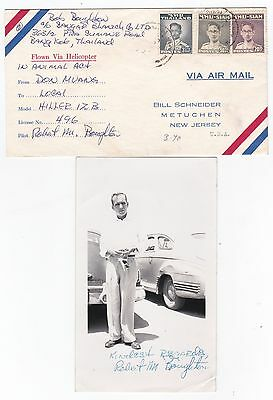 Hiller Helicopter Flight Cover Thailand With Photograph 1950s