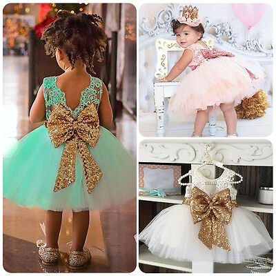 Flower Girl Kid Baby Princess Big Bowknot Party Sequin Wedding Formal Tutu Dress