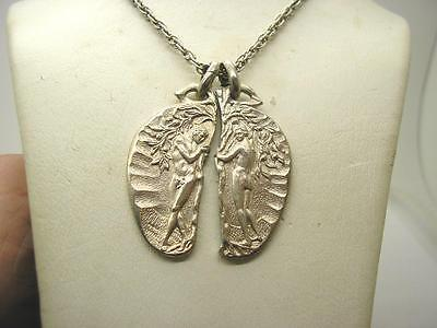 """Vintage Sterling Silver Adam & Eve 2 Part Lovers Pendant & 36"""" Silver Chain"""