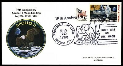 1988 Apollo 11 anniversary cachet on first man on the moon cover
