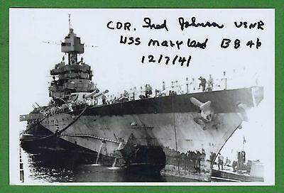 Fred Johnson WWII Pearl Harbor USS Maryland Survivor Signed 4x6 Photo E16221
