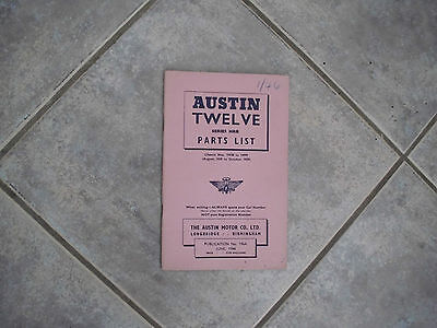 Vintage Austin Twelve 12 HRB Parts List No.196A June 1946 (Aug. to Oct. 1939)