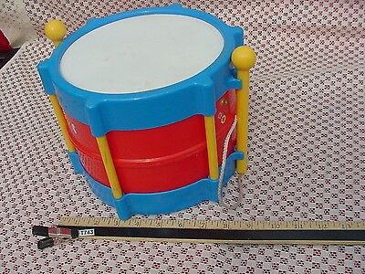 """8x6+"""" BLUE RED WHITE DRUM & 2 YELLOW DRUM STICKS USED BUT GOOD CONDITION T743"""