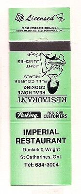 Imperial Restaurant Dunkirk & Wright, St. Catharines ON Ontraio Matchcover 0117