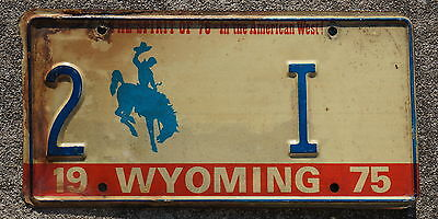 1975 Wyoming License Plate # 2 - I