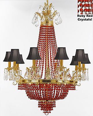 French Empire Crystal Chandelier - Dressed w/ Ruby Red crystals & Black Shades