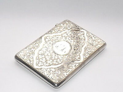 EXQUISITE ANTIQUE VICTORIAN 81gm SOLID STERLING SILVER CARD CASE BIRMINGHAM 1897