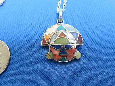 South American Jewelry 950 Sterling Silver Inca MASK Pendant Necklace  Peru D