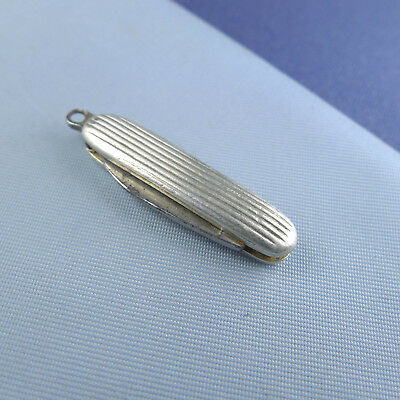 Miniature Sterling Silver Pocket Knife / Antique Pocket Watch Chain Fob