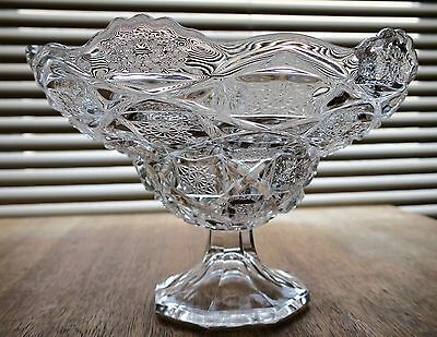 Westmoreland CHECKERBOARD #500 Bridle Rosettes Clear FOOTED BOWL / Compote !!