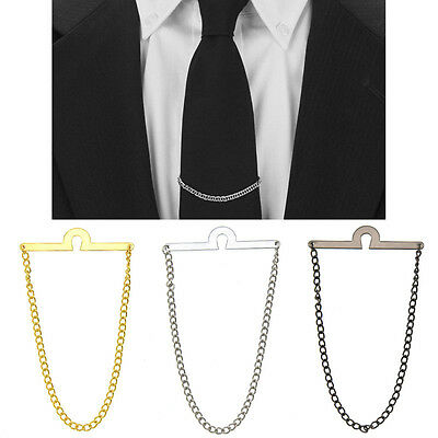 Mens Tie Chain Tack Clip Locking Pin For Necktie Guard Clutch Back Secure Holder