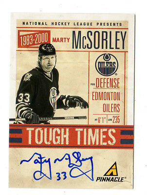 MARTY McSORLEY NHL 2011-12 PINNACLE TOUGH TIMES AUTOGRAPH OILERS,BRUINS,PENGUINS
