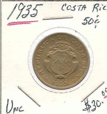Uncirculated 1935 Costa Rica 50 Centavos  !!   Combined Shipping Discounts !!