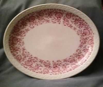 "Syracuse China Pink Red Roxbury Mayflower  Large Oval Platter 13"" Econo-Rim"