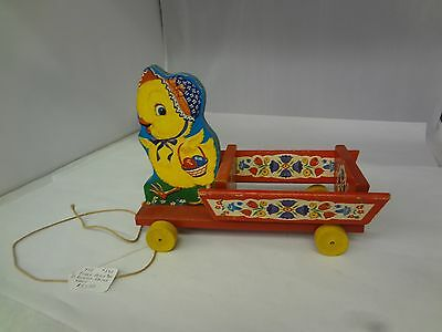 Vintage Wooden Fisher Price Bill and Sue Pull Toy Duck with Cart Easter  392-