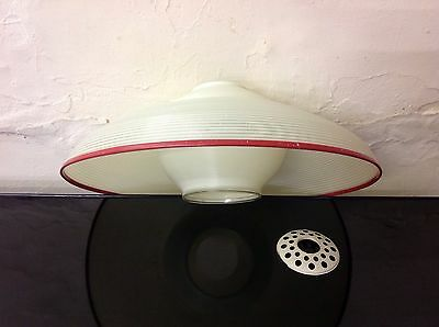 Mid Century 1950s White Flying Saucer Rotaflex Light Lamp Shade with Red Trim