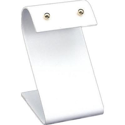 """White Faux Leather Jewelry Display """"S"""" Earring Stand"""