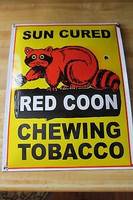 Sun Cured Red Coon Chewing Tobacco Porcelain Curved Large Sign Raccoon