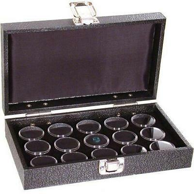 Black Foam 15 Gem Stone Jars Box Travel Tray Display