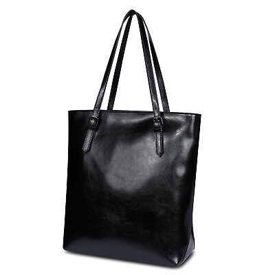 Kattee Lady's Fashion Genuine Cow Leather Simple Style Tote Shoulder Bag