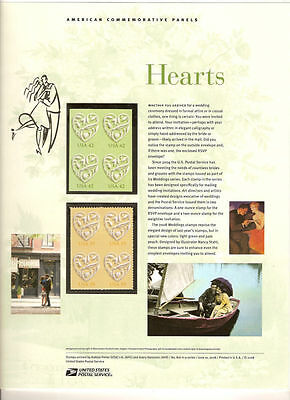 #816 42c Wedding Hearts #4271-#4272 USPS Commemorative Stamp Panel