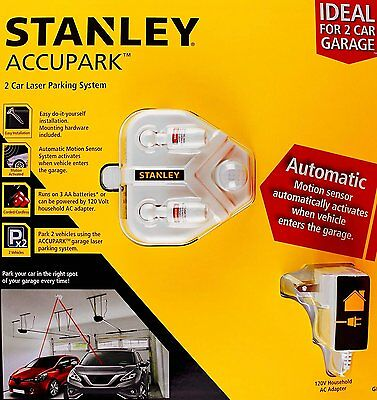 NEW Stanley Accupark 2 Car Garage Laser Parking System Motion Sensor Kit