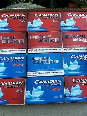 Collectible Match  Boxes CANADIAN CLASSIC CIGARETTE Advertising TWO Boxes