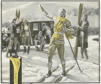 1927 Original TEXACO Motor OIL Full Page 2-Color AD. Skiers. Skiing.
