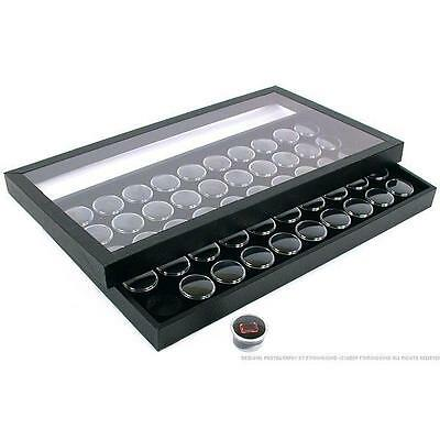 50 Gem Jars Black Display Tray Travel Case Acrylic Lid
