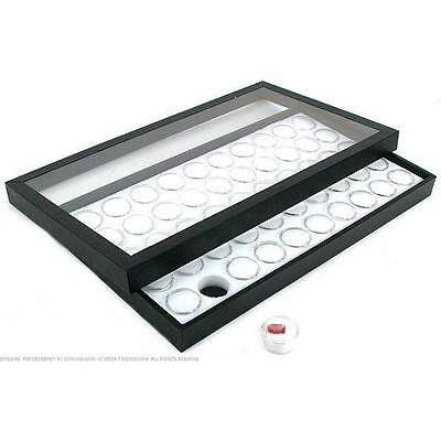 50 Gem Jars White Display Tray Travel Case Acrylic Lid