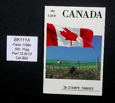 BK111A  Cat@ $60 Flag Perf 12.5x13 ~ Canada Booklet Stamps