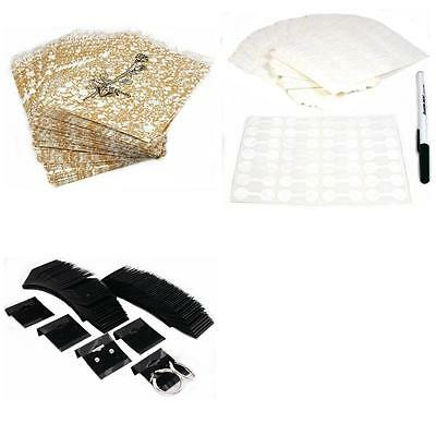 Gold Tone Paper Gift Bags W/ Jewelry Price Tags & Black Earring Cards 1200 Pcs