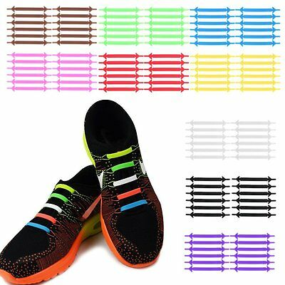 Unisex Running No Tie Fluorescent Shoelaces Elastic Silicone Lace For Shoes XRAU