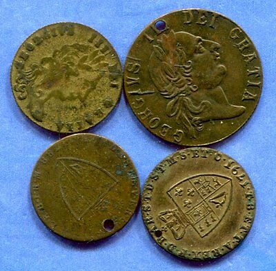 Lot of 4 - 1780-90's British Good Olde Times Sovereign Tokens
