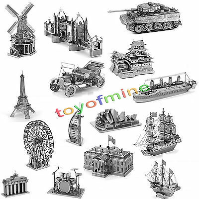 Rare Silver Metal 3D Laser Cut Miniature Model Kits Building Puzzle Toy Gift