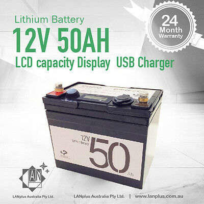 Lithium Battery 12V 50AH LCD capacity Display USB Charger Carry Bag w/ Charger