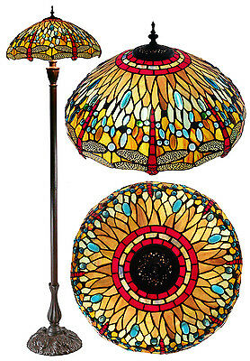 "New arrivals@18"" Dragonfly Leadlight Stained Glass Tiffany  Floor Lamp"