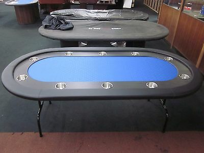"84""  7 Foot Pro Poker Table With Speed Felt [Blue] + Stainless Steel Jumbo Cup"