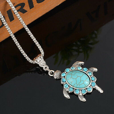 Fashion Women Jewelry Turquoise Pendant Rhinestone Turtle Charm Chain Necklace