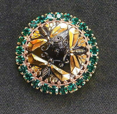 Vintage Style Czech RHINESTONE ALL Glass Button (1 pc) #D976 - SIGNED!!! - 41 mm