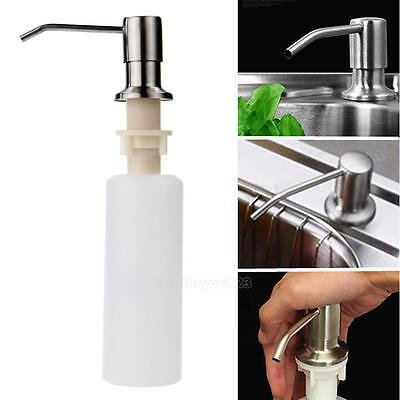 Kitchen Bathroom Sink Soap Lotion Dispenser - Stainless Steel Head + ABS Bottle