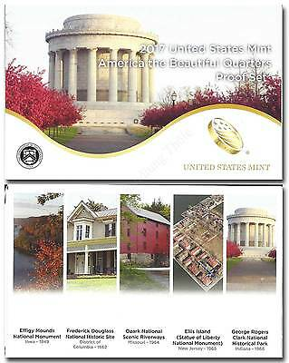 USA 2017: Kurssatz Beautiful Quarters 1,25 Dollar Proof Set 5 Münzen