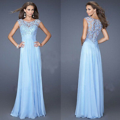 Nice Lace Long Chiffon Evening Formal Party Cocktail Dress Bridesmaid Prom Gown