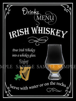 Irish Whiskey  Retro Pub,bar,club, Man Shed,home Bar,metal Sign-Plaque Gift