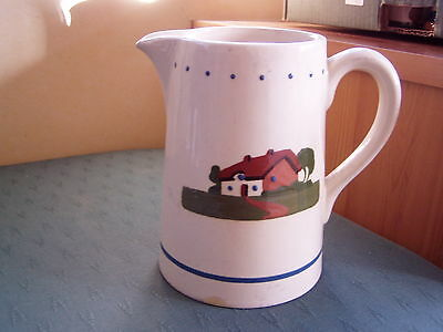 Old House Patterned Torquay Ware Jug + Legend - Mottoware Dartmouth Pottery