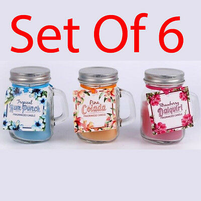 Set Of 6 Scented Candles In Glass Pot Fragrance Home Candle Gift Jar Mood Mason